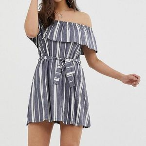 Asos striped Bardot style dress with tie belt